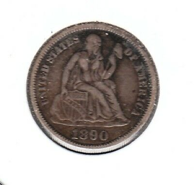 1890 SEATED LIBERTY DIME   -  (any white  specks not on coin)   COMBINED S&H