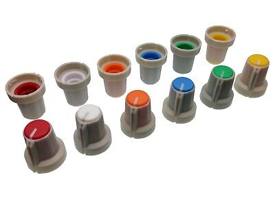 6 Colours Grey Body Plastic Knobs for 6mm Potentiometer / Rotary Switch