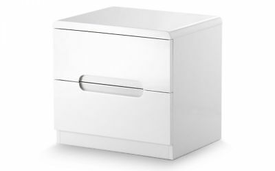 Lucia Painted White Wood High Gloss Lacquered 2 Drawer Bedside Chest of Drawers