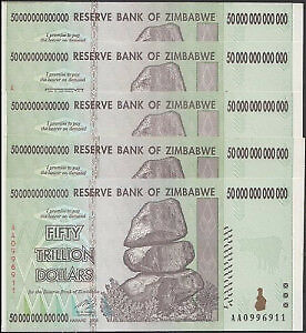 Five Zimbabwe 50 Trillion Dollar Banknotes - Consecutive Numbers, Unc Currency