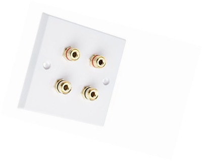 4 Post Surround Sound Speaker Wall Plate with Gold Binding Posts NO SOLDERING RE
