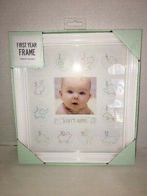 C.R. Gibson Stepping Stones My First Year Keepsake White Frame NEW