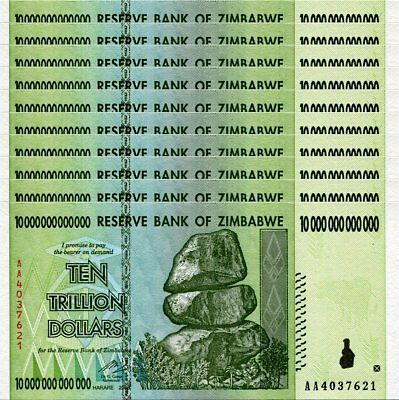Ten Zimbabwe 10 Trillion Dollar Banknotes - Consecutive Numbers, Unc Currency