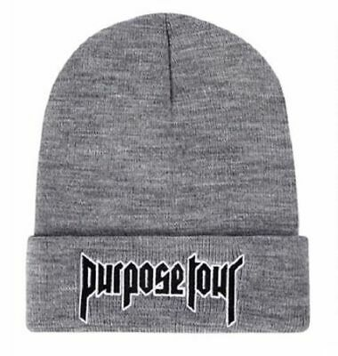 New Justin Bieber Purpose Tour Beanie Hat Alternative Solid Embroidered Gray Cap