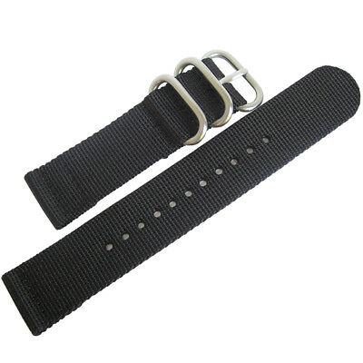 22mm deBeer Black Ballistic Nylon UTC Military Dive Two-Piece Watch Band Strap