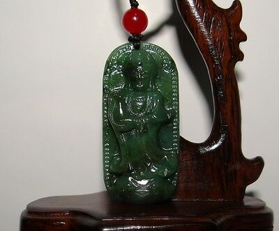 "2""China Certified Nature Nephrite Hetian Green Jade Guanyin Necklace Pendants"