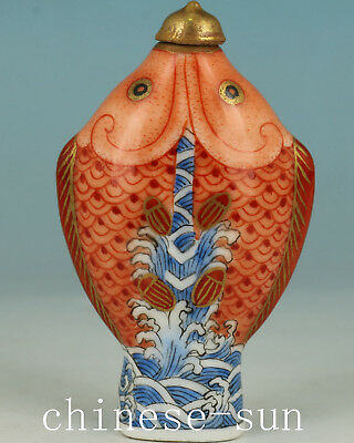 Ancient Chinese Porcelain Handmade Painting double Fish Statue Snuff Bottle