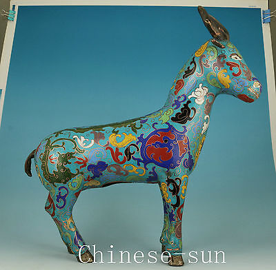 "14"" High Chinese Cloisonne  Carving deer Collect Statue Figure"