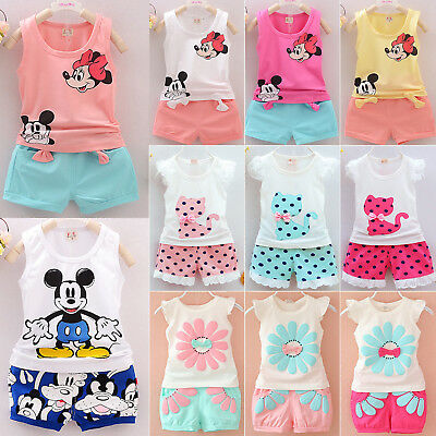Toddler Kids Baby Girls Summer Outfits T-shirt Tank Tops+Pants 2pcs Clothes Set