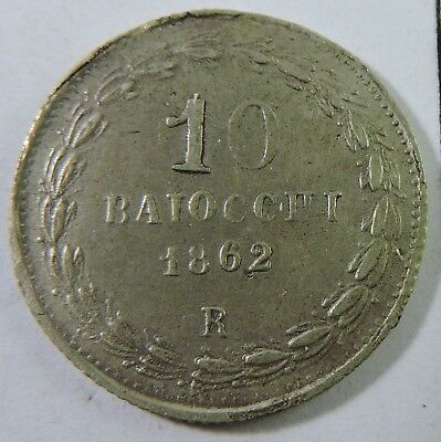 Papal States 1862-R 10 Baiocchi Silver Coin