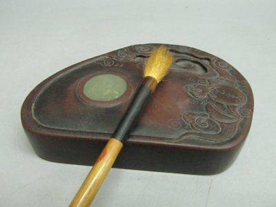 Chinese Red Silk Stone Carved Bat Ink Stone / Ink Slab