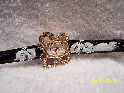 hand painted Maltese on Rhinestone butterfly watch