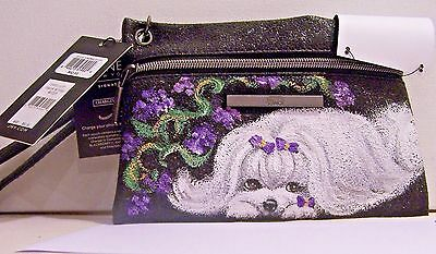 Hand painted Maltese Jones New York Charging Pouch Wristlet  black sparkle