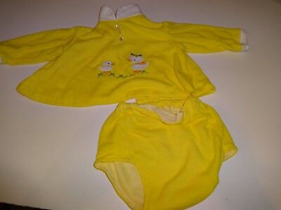 Vintage Bright Yellow Ducky Top & Panties Baby 0-3 months
