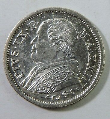 Papal States 1868 10 Soldi Silver Coin