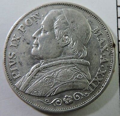 Papal States 1868 2 Lire Silver Coin
