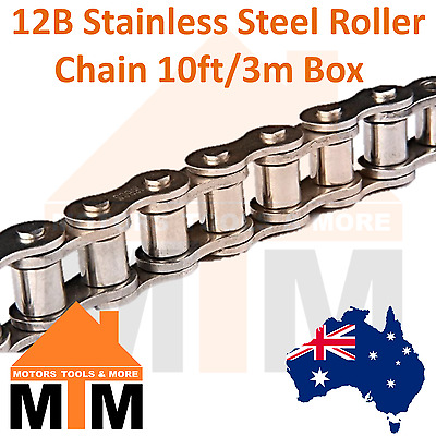 "INDUSTRIAL ROLLER CHAIN 12B- 3/4"" PITCH Stainless Steel 10Ft 3m Box 12B"