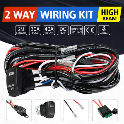 LED Wiring Loom Harness Kits One-To-Two Universal Driving light bar 12V 40A Rela
