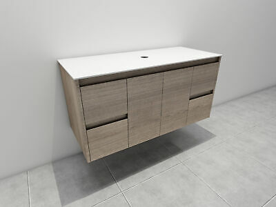 Melbourne 1200X520X580Mm Deep Wooden Bathroom Wall Hung Vanity Stone Top, Bv16Ot