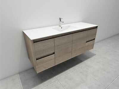 Melbourne 1500X520X580Mm Single Wooden Bathroom Wall Hung Vanity Stone Top 16Um