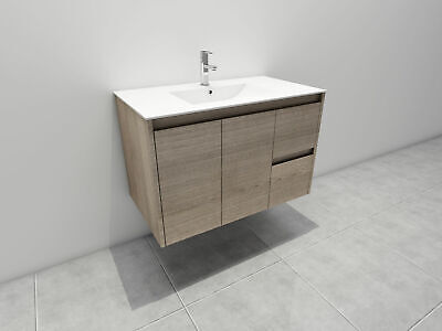 Melbourne 900X520X580Mm Wooden Bathroom Wall Hung Vanity With Stone Top, Bv16Um