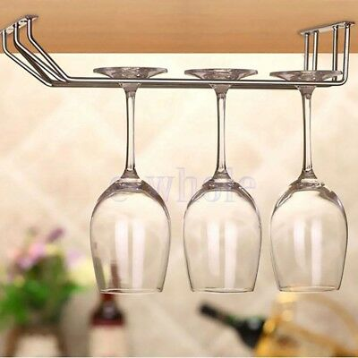 Wine Glass Under Cabinet Holder Shelf Hanger Stemware Bar Dining Shelf 2 Rows EW