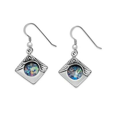 Stunning New Sterling Silver Blue Roman Glass Classic Square Earrings For Women