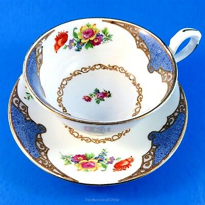 Pretty Blue Accent & Floral Bouquet Collingwoods Tea Cup and Saucer Set