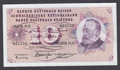 10 Franken From Switzerland 1961 Unc