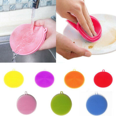 Silicone Dish Washing Sponge Scrubber Kitchen Cleaning Antibacterial Uk Seller