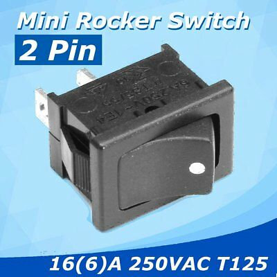2Pcs SPDT 2 Pin Mini Rocker Switch ON-OFF Black 16(6)A 250VAC T125 Snap-in