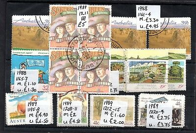 Australia 1988-1989 used sets collection Cat Val £30 WS5987