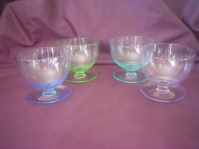 4 Harlequin Crystal Dessert Entree Glass Bowls With Base Tray Parfait