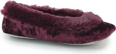 0b23d4601e3 Totes Isotoner CRUSHED VELOUR Ladies Womens Comfort Warm Ballet Slippers  Berry