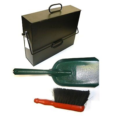Black Hot Ash Tidy Box Carrier Bucket Fireplace Pan C/W Brush and Shovel