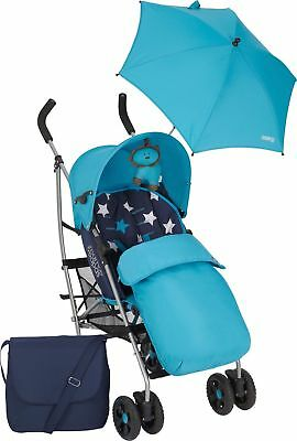 Mamas and Papas Swirl Pushchair Buggy Stroller - Blue - New - Boxed