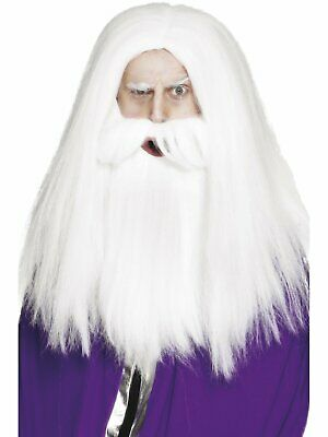 Deluxe Merlin Gandalf WIG and Beard SET men's fancy dress costume accessory