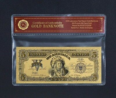 "Limited 24k Gold Foil Collectors 1899 $5 US ""Indian"" with Certificate of Authent"