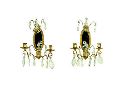 Pair French Louis Gilt Bronze Mirrored Candle Sconces Crystal Prisms Pendalogues