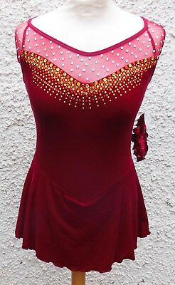 NEW SIX0 ICE SKATING COMPETITION DRESS Ladies Small/ 12-14 Yrs LOTS OF SWAROVSKI