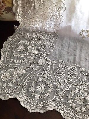 Superb Chateau FRENCH Embroidered Lawn CURTAIN DRAPERY For Project Inc 12 Rings