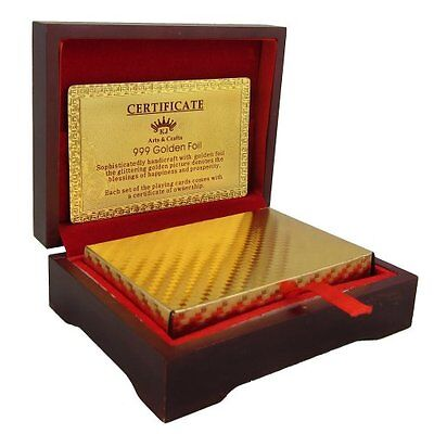 24k Pure Gold Plated Playing Cards Full Poker Game Deck Wooden Gift Box Set