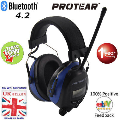 Protear Bluetooth 4.2 AM/FM Radio Ear Defenders with AUX IN & Cable. Brand New