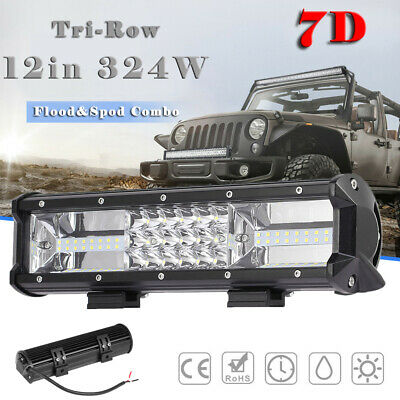 12Inch 324W Tri-Row 7D LED Work Light Bar Combo Flood Spot Truck SUV 4WD OFFROAD