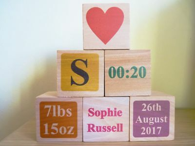 Personalised Colour Wooden Baby Blocks - Newborn Name / Birth Gift
