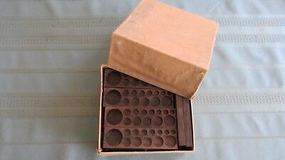 Original Box Of 28 Assay Balance Weight Wood Holders-Gram & Troy-Georgetown Colo