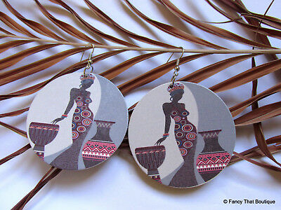 Sexy Afro Centrc Black Lady on the Drums Wedding Gele African Roots Earrings
