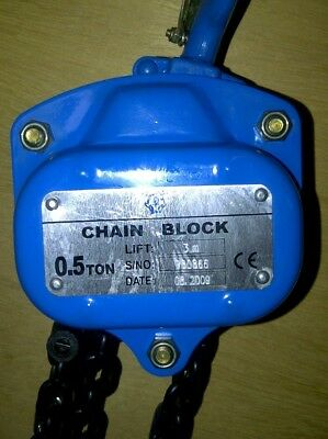 500kg S.W.L Manual Chain Block/Hoist: 3m, 6m, and 10m