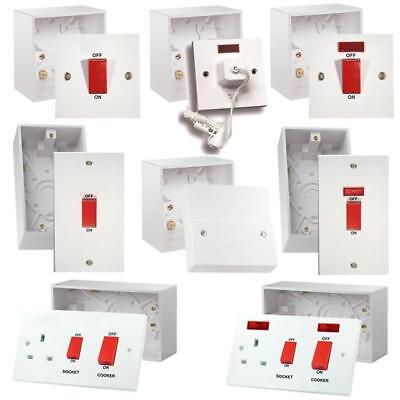 45 Amp Cooker Switch Socket Outlet Pull Cord + 47mm Back Box Pattress Electrical