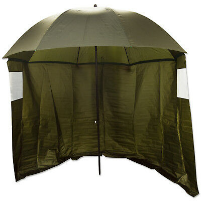 "75"" Olive Top Tilting Fishing Umbrella/Brolly Shelter With Sides and Windows"